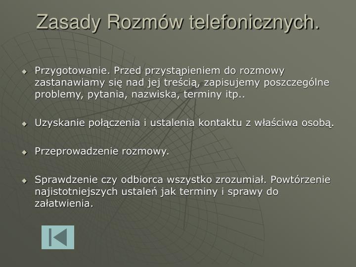 Zasady Rozmów telefonicznych.
