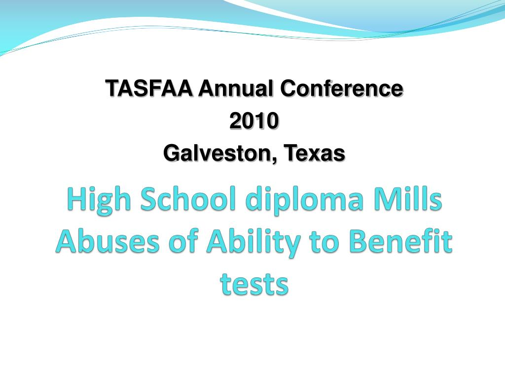 high school diploma mills abuses of ability to benefit tests l.
