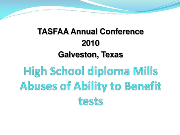 High school diploma mills abuses of ability to benefit tests