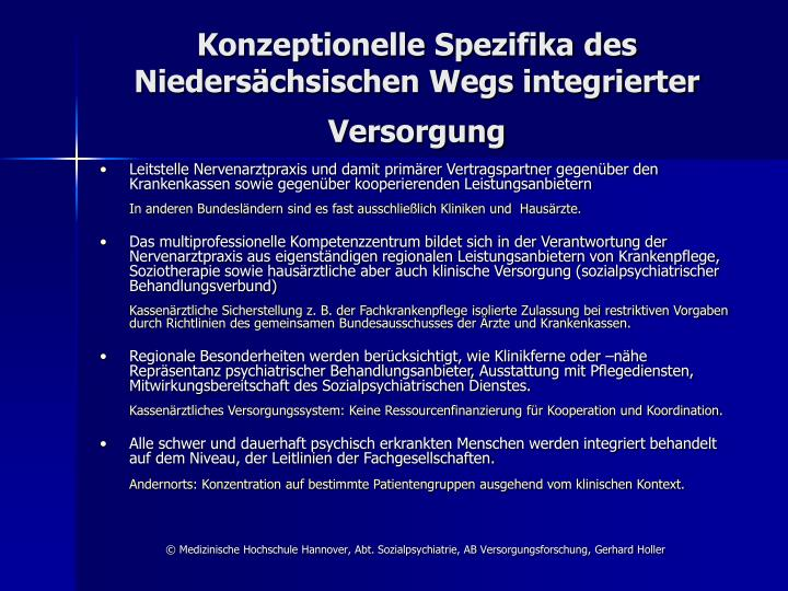 Konzeptionelle Spezifika des Niedersächsischen Wegs integrierter Versorgung