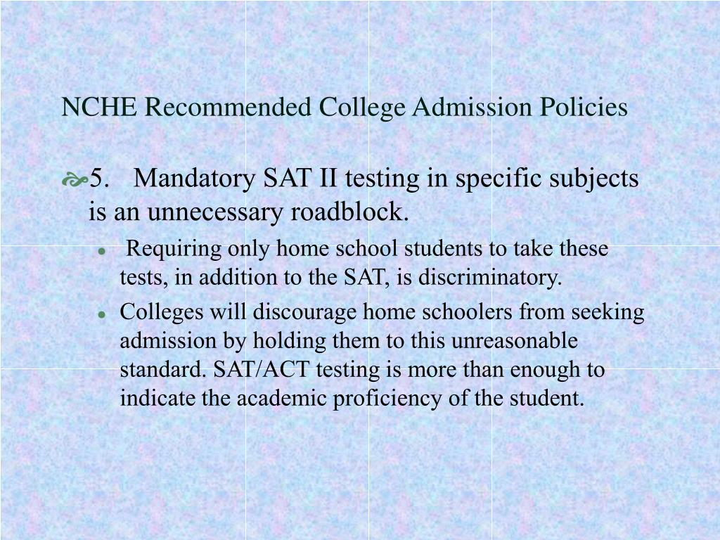 NCHE Recommended College Admission Policies