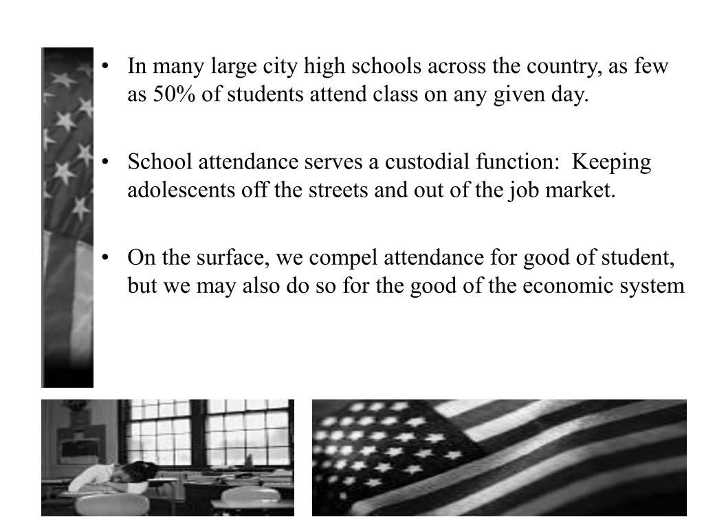 In many large city high schools across the country, as few as 50% of students attend class on any given day.