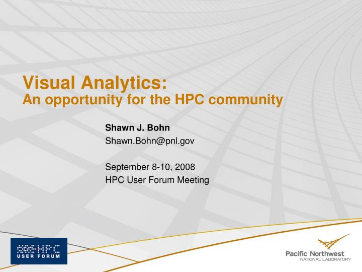 visual analytics an opportunity for the hpc community n.