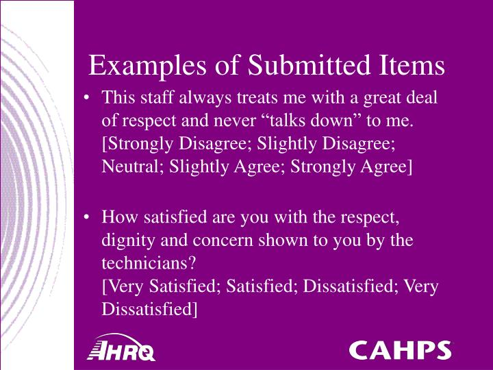 Examples of Submitted Items