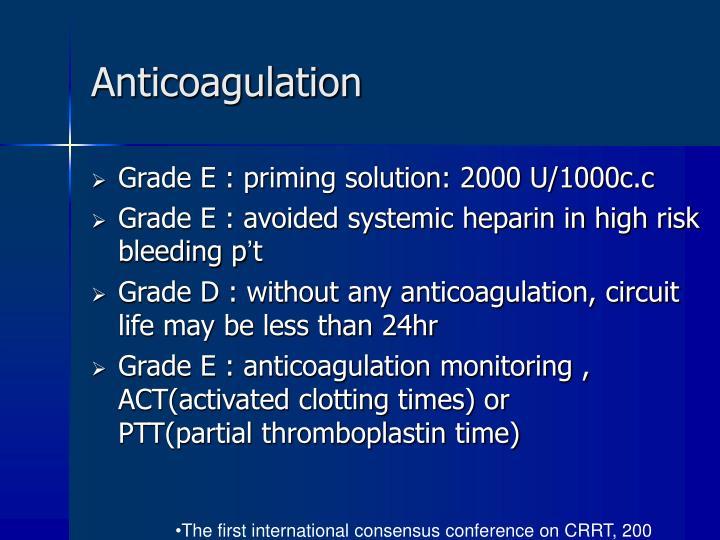 Anticoagulation