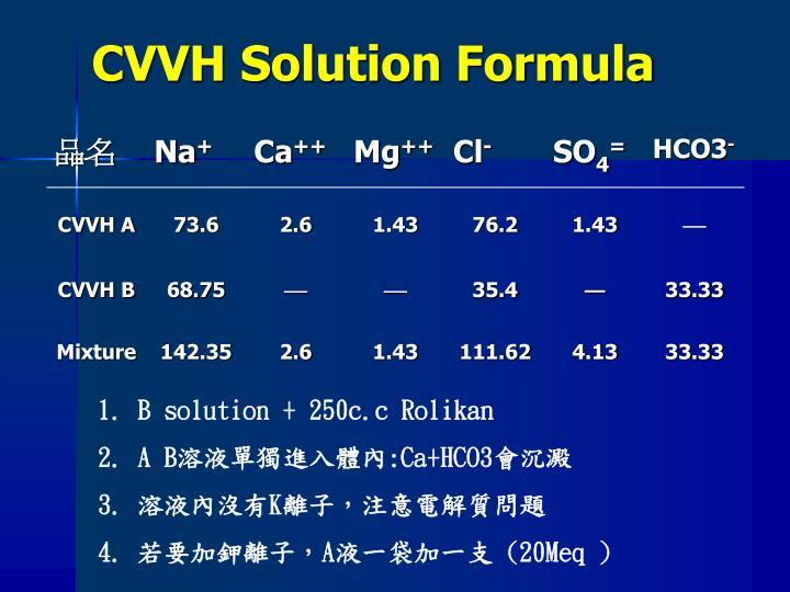CVVH Solution Formula