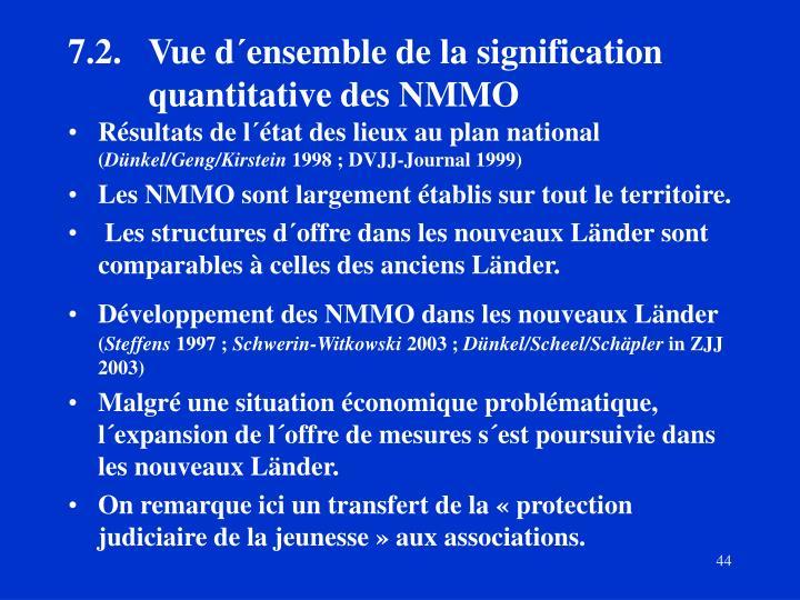 7.2.Vue d´ensemble de la signification quantitative des NMMO