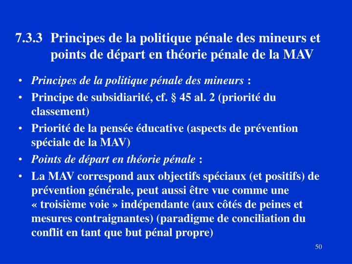 7.3.3Principes de la politique pénale des mineurs et points de départ en théorie pénale de la MAV