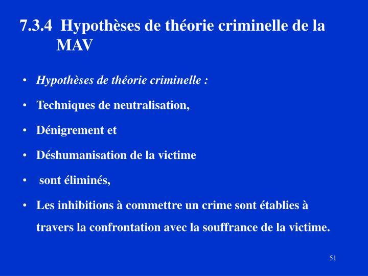 7.3.4 Hypothèses de théorie criminelle de la MAV