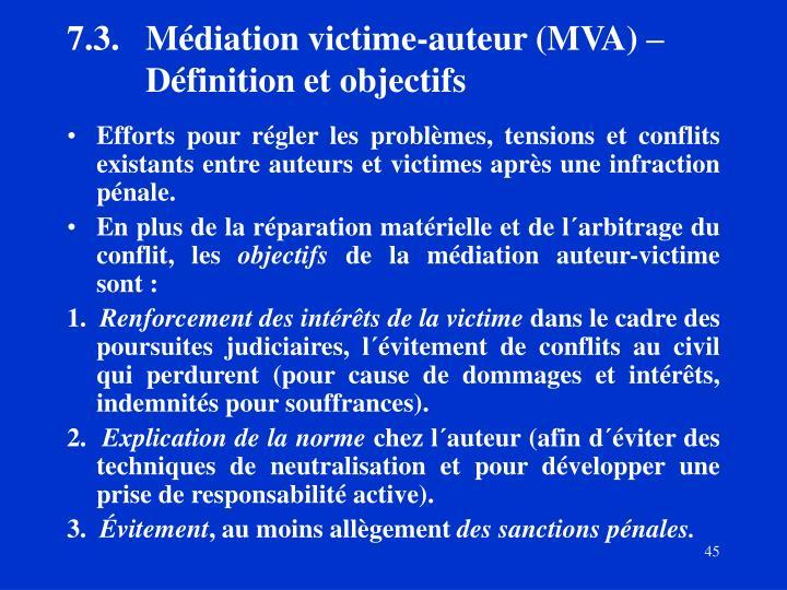 7.3.Médiation victime-auteur (MVA)