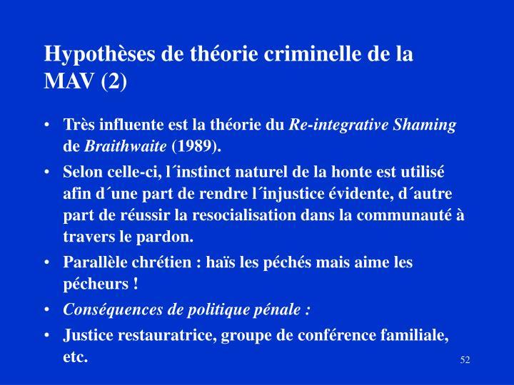 Hypothèses de théorie criminelle de la MAV (2)