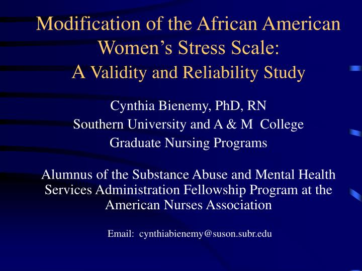 modification of the african american women s stress scale a validity and reliability study n.