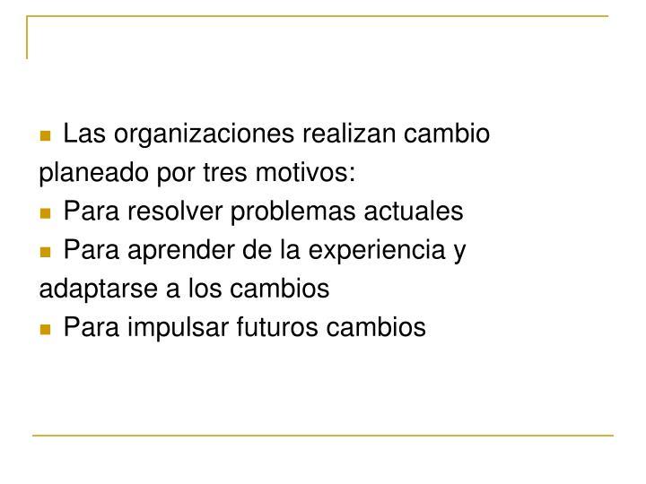 Las organizaciones realizan cambio