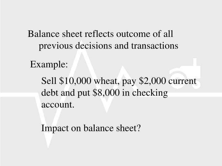 Balance sheet reflects outcome of all previous decisions and transactions