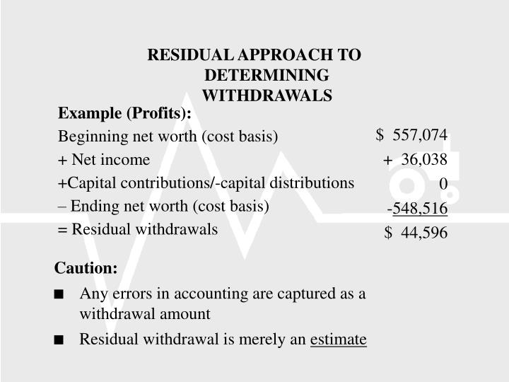 RESIDUAL APPROACH TO DETERMINING WITHDRAWALS