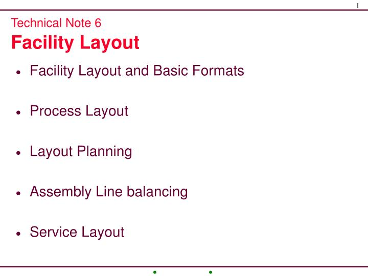 technical note 6 facility layout n.