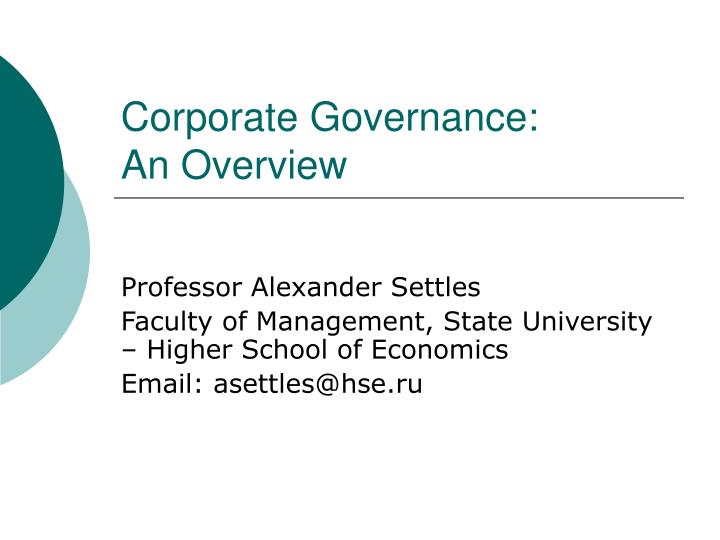 corporate governance an overview n.