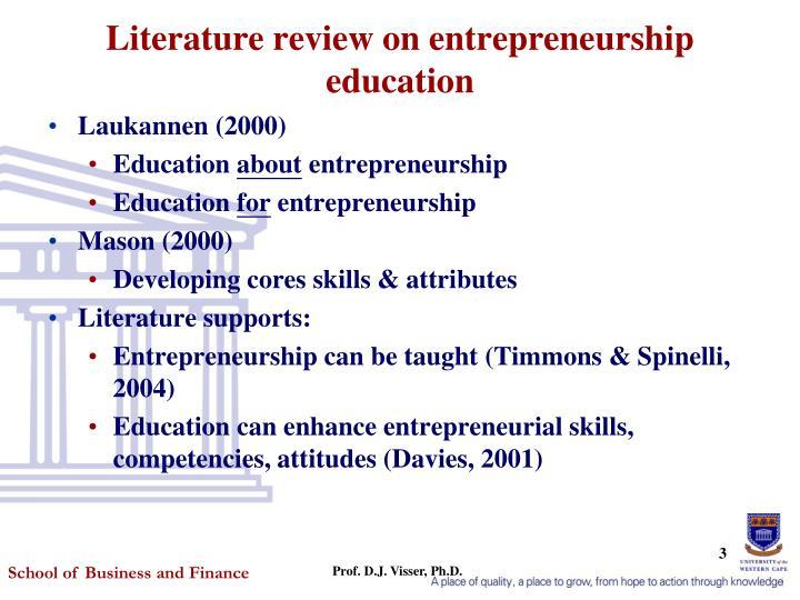 Literature review on entrepreneurship education