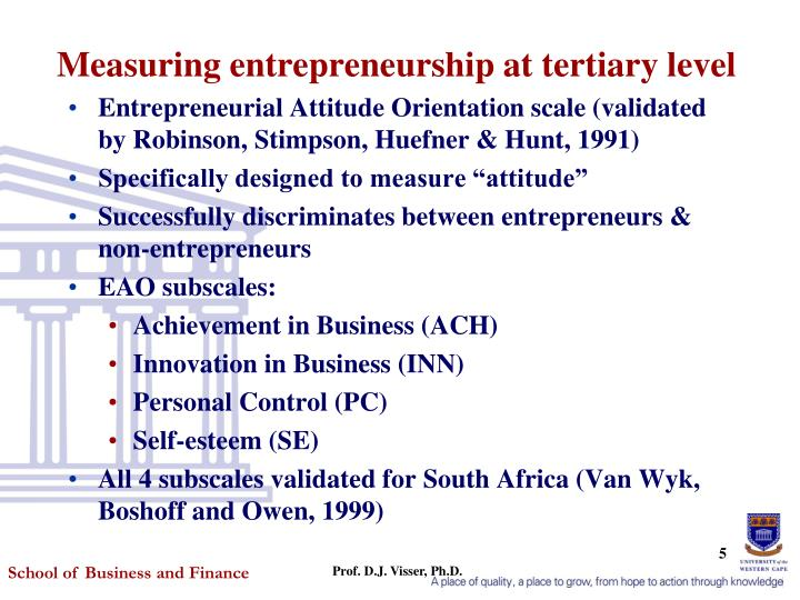 Measuring entrepreneurship at tertiary level