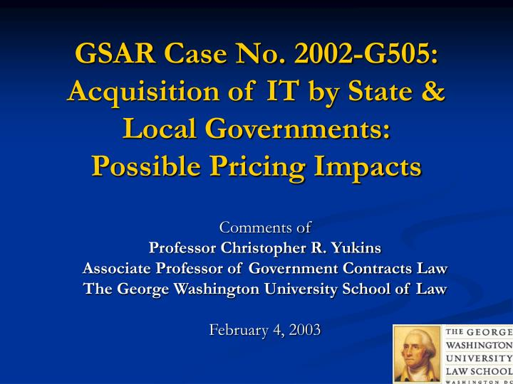 gsar case no 2002 g505 acquisition of it by state local governments possible pricing impacts n.