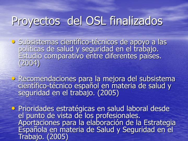 Proyectos  del OSL finalizados