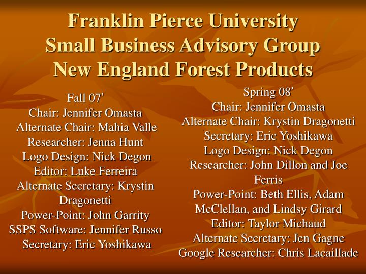 franklin pierce university small business advisory group new england forest products n.