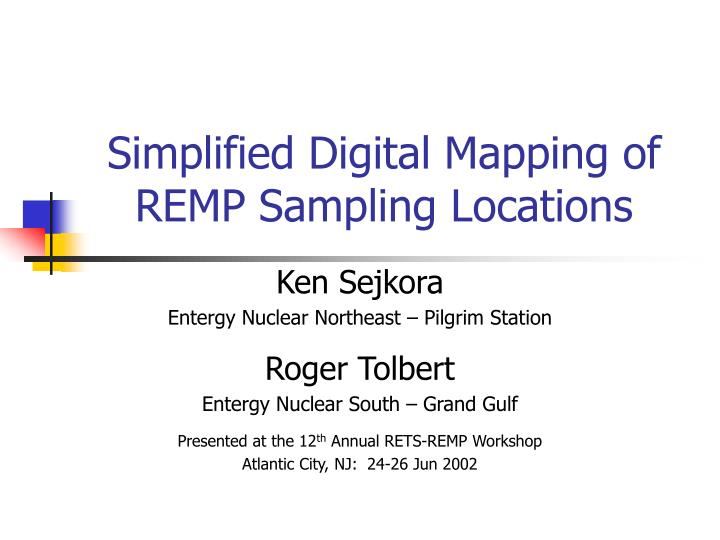 Simplified digital mapping of remp sampling locations