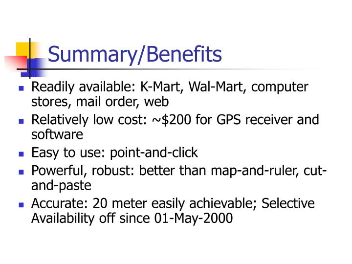 Summary/Benefits