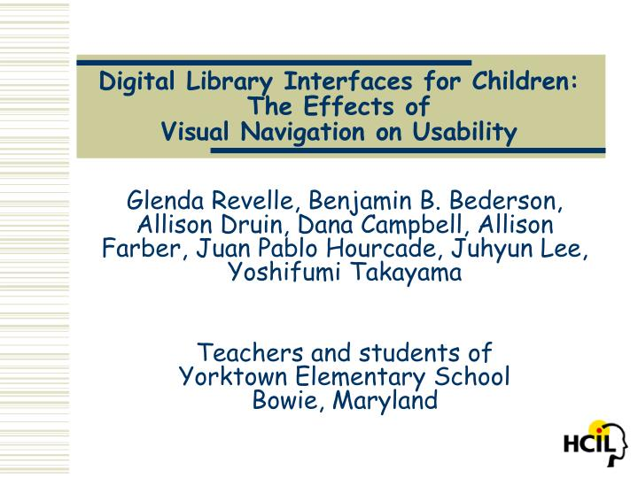 digital library interfaces for children the effects of visual navigation on usability n.