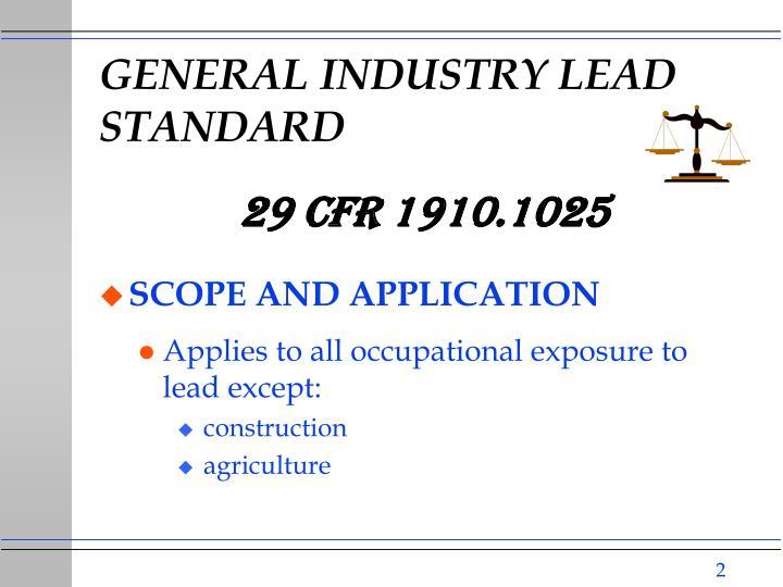 General industry lead standard