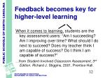 feedback becomes key for higher level learning