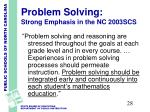 problem solving strong emphasis in the nc 2003scs