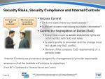 security risks security compliance and internal controls