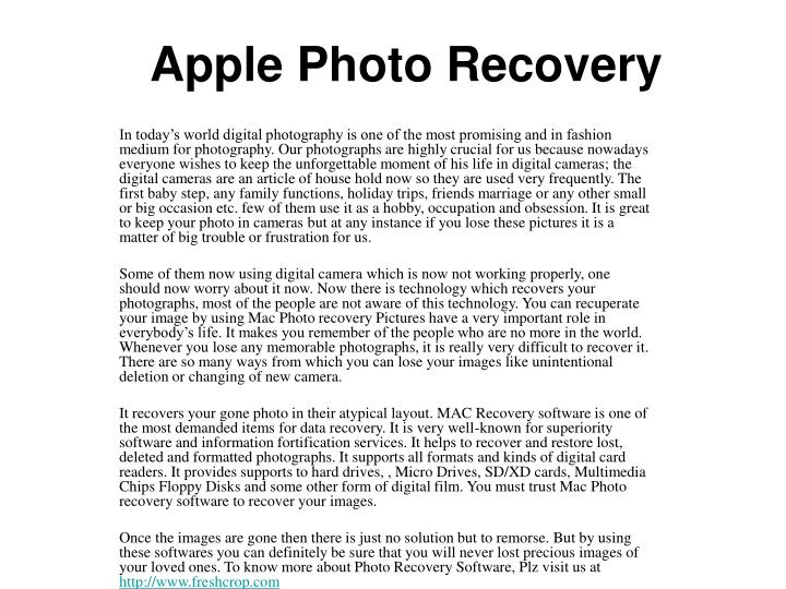 Apple photo recovery