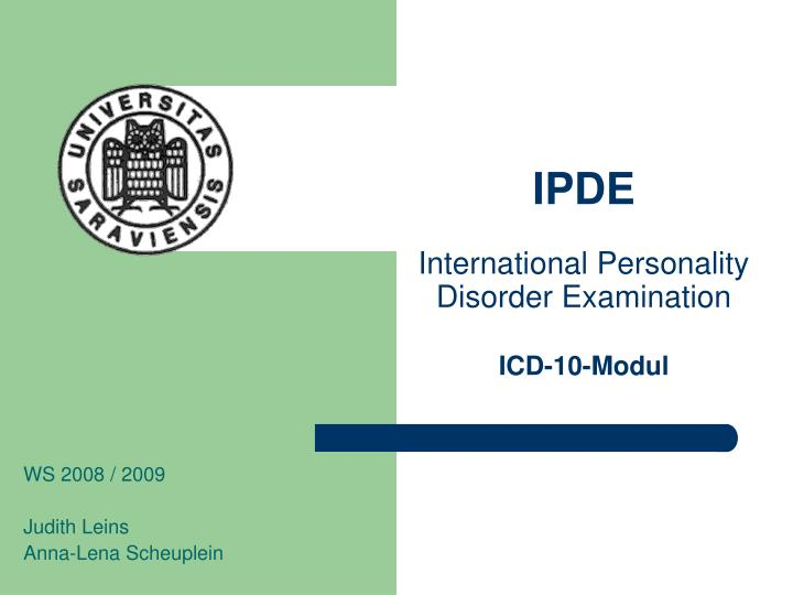 ipde international personality disorder examination icd 10 modul n.