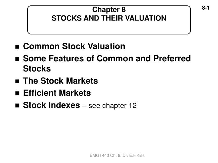 chapter 8 stocks and their valuation n.