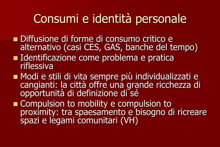 Consumi e identità personale