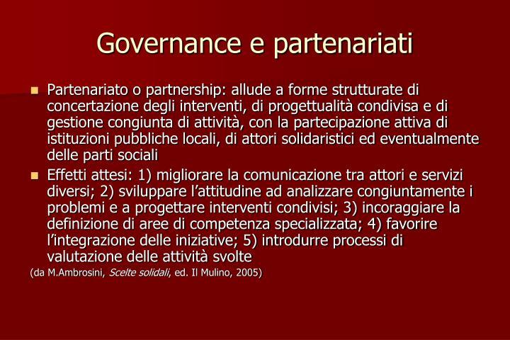 Governance e partenariati