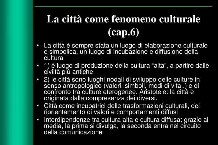 La città come fenomeno culturale (cap.6)