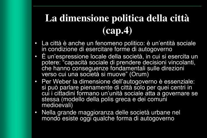 La dimensione politica della citt cap 4