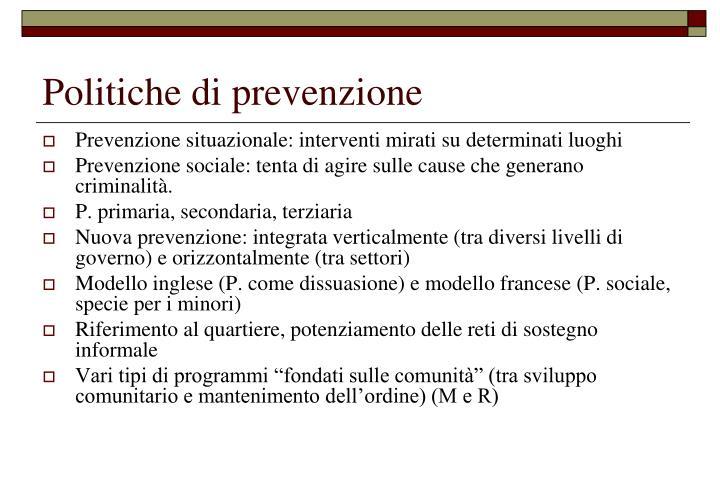 Politiche di prevenzione