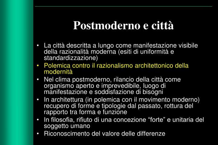 Postmoderno e città
