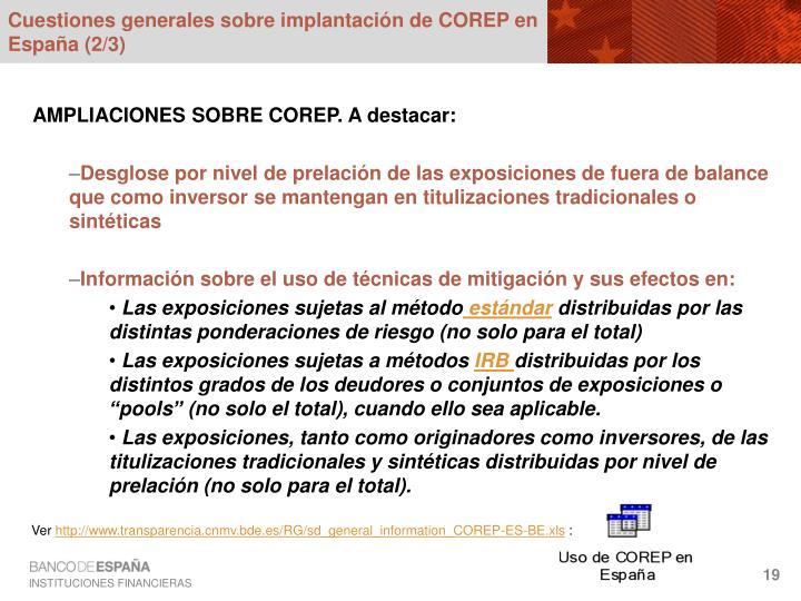 Cuestiones generales sobre implantación de COREP en España (2/3)