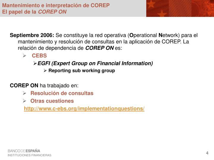 Mantenimiento e interpretación de COREP