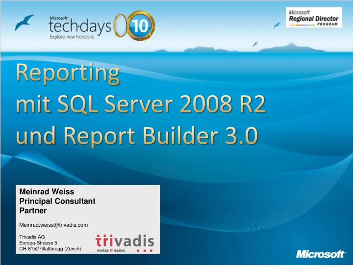Reporting mit sql server 2008 r2 und report builder 3 0