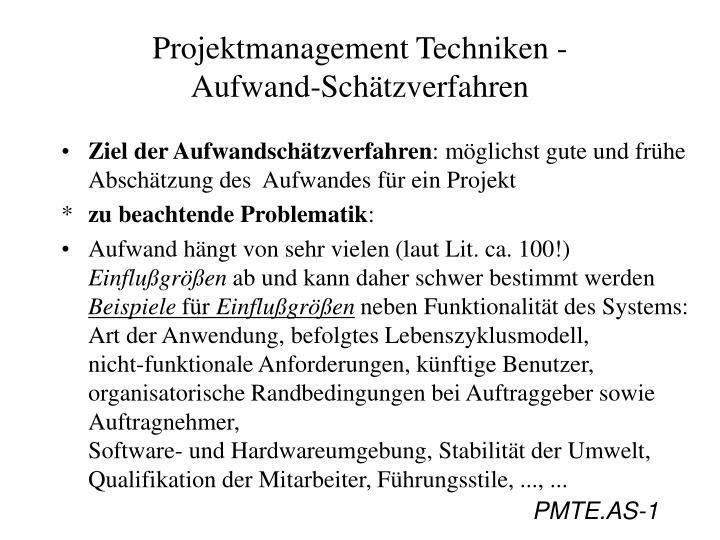 projektmanagement techniken aufwand sch tzverfahren n.