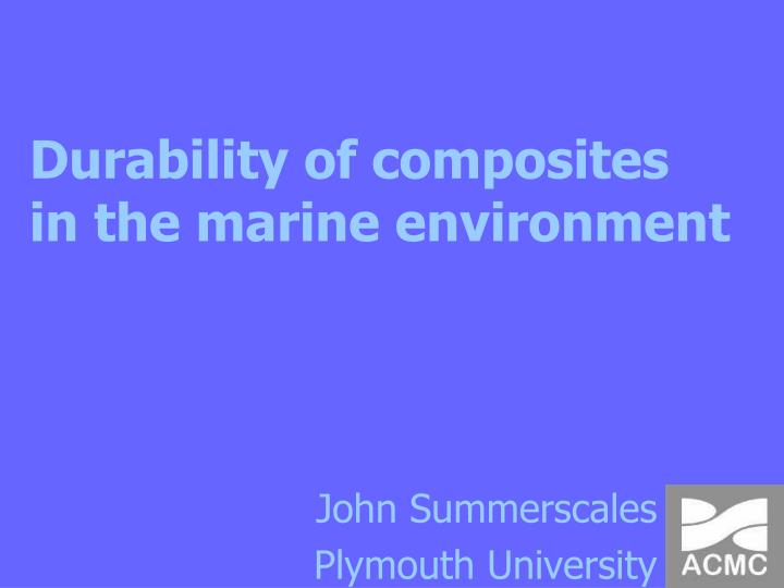 durability of composites in the marine environment n.