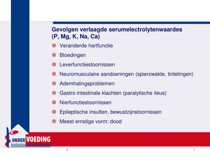 Gevolgen verlaagde serumelectrolytenwaardes