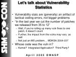 let s talk about vulnerability statistics