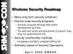 windows security roadmap